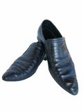 Man's shoes. Stylish black shoes isolated on a white backgroun royalty free stock photos