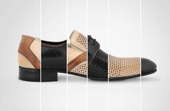 Man`s shoes conctpt. Man`s shoes concept on grey background Stock Photos