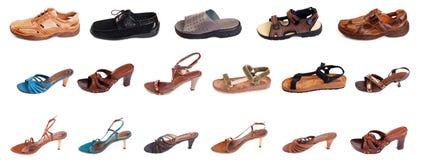 man s shoes kvinnan Royaltyfria Bilder