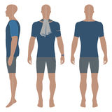 Man`s curled headed silhouette. Man`s silhouette  in summertime clothes: short sleeve t-shirt and briefs front, side & back view. Vector illustration isolated on Stock Images