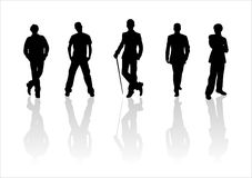 Man's silhouettes. Black silhouettes of men on a white background Stock Image