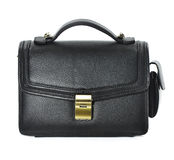 Man's small black leather bag on white background. Studio photography black male bag Royalty Free Stock Photo