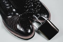 Shoes with accessories and perfume. Man`s style. shoes with accessories and perfume Stock Images