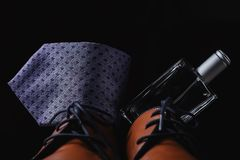 Shoes with tie and perfume. Man`s style. shoes with tie and perfume Royalty Free Stock Photography