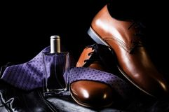 Shoes with tie and perfume. Man`s style. shoes with tie and perfume Royalty Free Stock Photos
