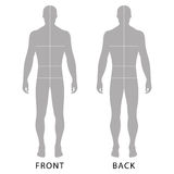 Man's template figure. Fashion man's solid template figure silhouette (front & back view) with marked body's sizes lines, vector illustration isolated on white Royalty Free Stock Photos