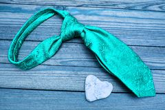 Man`s tie  day in love. A happy valentine`s day in love and man`s tie royalty free stock photography