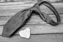 Man`s tie  day in love. A happy valentine`s day in love and man`s tie stock photography