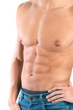 Man's torso. Showing great abdominal muscles isolated in white Stock Image
