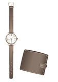 Man S Watch And Purse Royalty Free Stock Image
