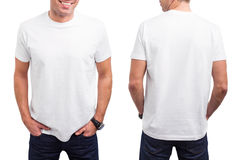 Man's white T-shirt. From front and back stock photos