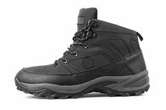 Man's winter boots of black color Royalty Free Stock Images