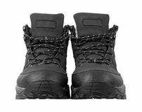 Man's winter boots of black color Stock Photography