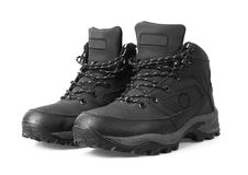 Man's winter boots of black color Stock Image