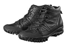 Man's winter leather boots of black Royalty Free Stock Photo