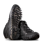 Man's winter leather boots of black color Stock Photo