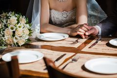 Man's and woman's hands Stock Image
