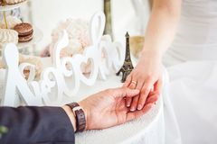 Man's and woman's hands Stock Images