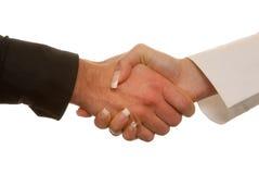 Man's and woman's handshake Royalty Free Stock Photos