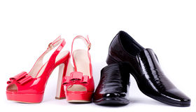Man's and womanish shoes Royalty Free Stock Photography