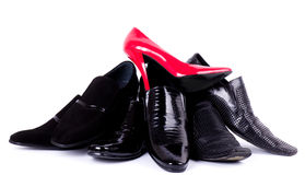 Man's and womanish shoes Stock Photo