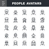 Man`s and Women`s characters staff pictogram. Modern Thin Contour Line Icons set of people avatars for profile page, social network, social media, professional royalty free illustration