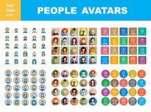Man`s and Women`s characters staff pictogram. Modern Thin Contour Line Icons set of people avatars for profile page, social network, social media, professional stock illustration