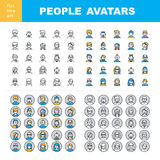 Man`s and Women`s characters staff pictogram. Modern Thin Contour Line Icons set of people avatars for profile page, social network, social media, professional vector illustration