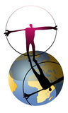 Man's world. Silhouette of man with circle in his hand standing on the globe, caricature Royalty Free Stock Photos