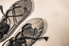 Man& x27; s y woman& x27; s cubre los zapatos del baile con cuero en imagen vertical destacada sepia Fotos de archivo libres de regalías