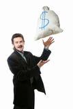 Man and sack Royalty Free Stock Photos