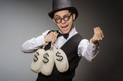 Man with sacks. Of money royalty free stock images
