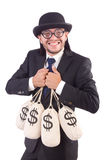 Man with sacks of money isolated Royalty Free Stock Images