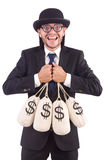 Man with sacks of money isolated Stock Photo