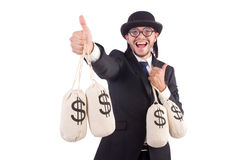 Man with sacks of money isolated Royalty Free Stock Photos