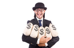 Man with sacks of money isolated Stock Photos