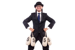 Man with sacks of money isolated Stock Photography