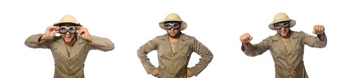 The man in safari hat with goggles on white. Man in safari hat with goggles on white royalty free stock image
