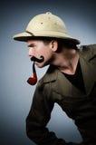 Man in safari hat Royalty Free Stock Photography