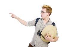 Man in safari hat in hunting Stock Photo