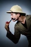 Man in safari hat in hunting Stock Image