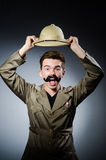 Man in safari hat in hunting Royalty Free Stock Image