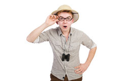 Man in safari hat. In hunting concept stock image