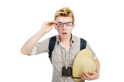Man in safari hat Stock Photo