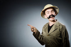 Man in safari hat Royalty Free Stock Photography