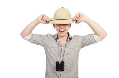 Man in safari hat. In hunting concept stock images