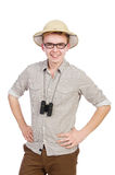 Man in safari hat. In hunting concept royalty free stock photos