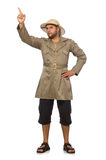 Man in safari hat isolated on white Stock Image