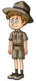 Man in safari outfit with dizzy eyes. Illustration Royalty Free Stock Photos