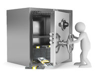 Man and safe on white background Stock Photos